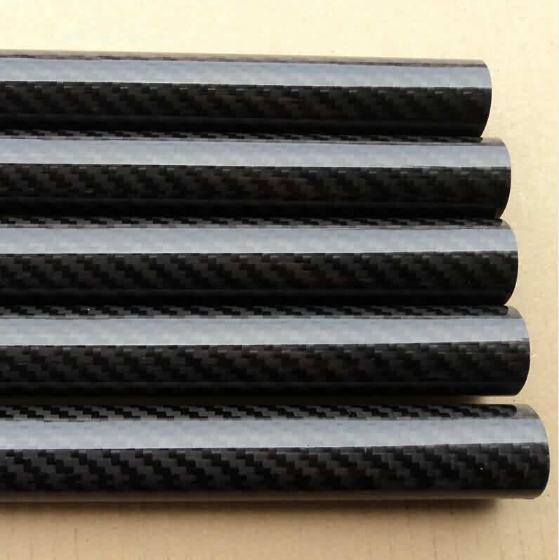 3K Glossy Roll-wrapped Carbon Fibre Tube- Twill Weaving/OD: 4~10mm