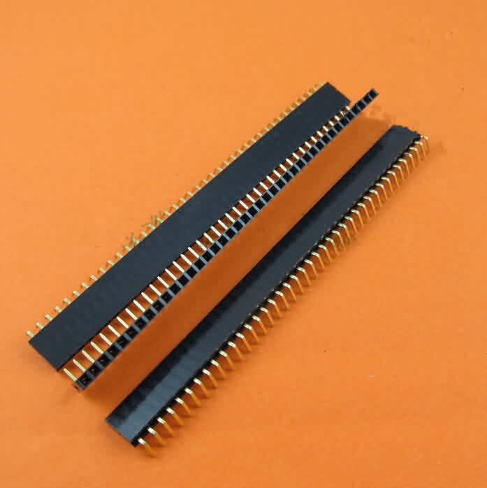 2.54mm Female Header Strip - Single Row/Right Angle/Pin: 2~40