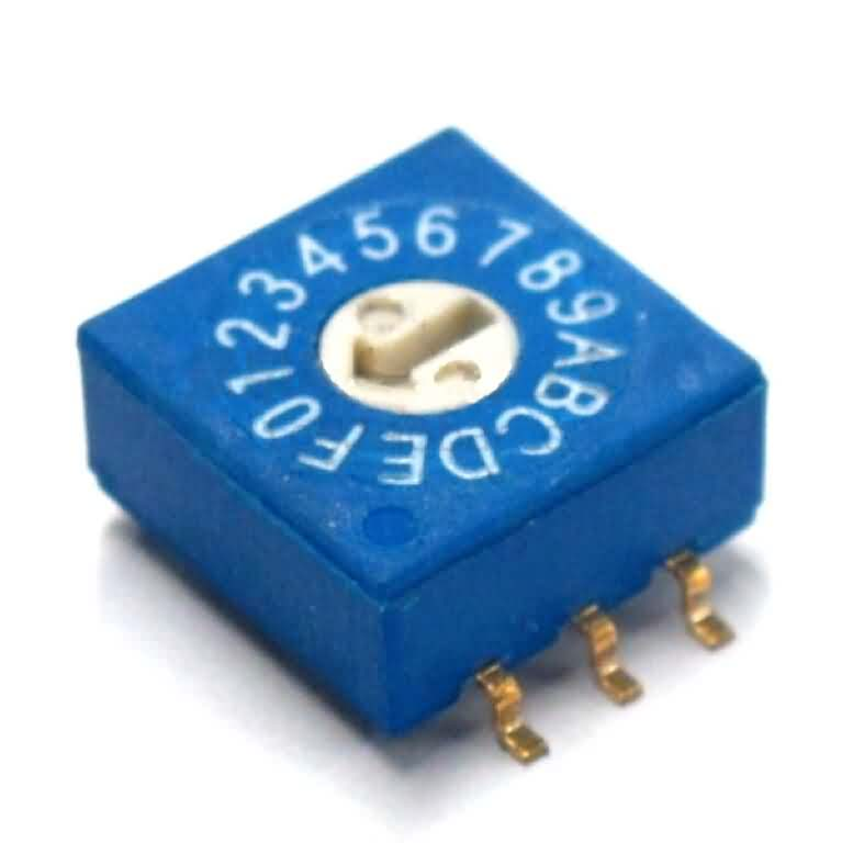 3:3 Through-hole / SMD Rotary DIP Switch - 16 Position Flat Type