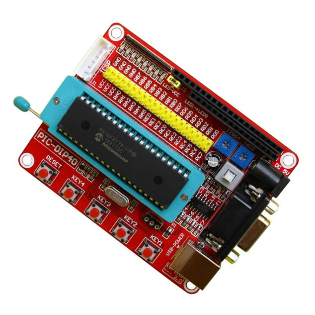 PIC Development Board + Microchip PIC16F877 PIC16F877A